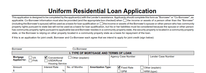 type of mortgage and loan terms