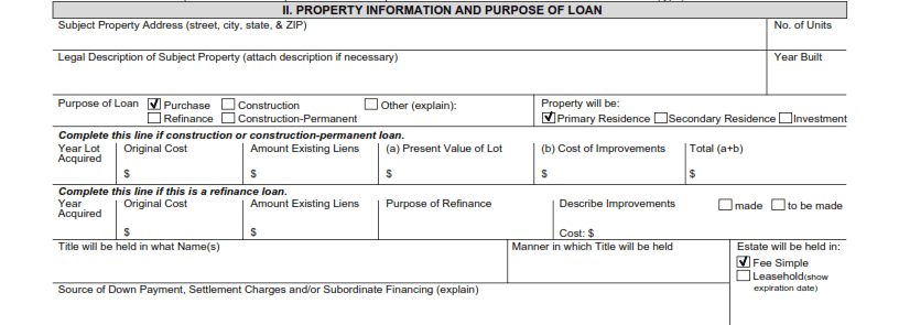 Property Information and Purpose of Mortgage